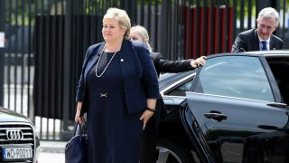 WARSAW, POLAND - JULY 8:  Prime Minister of Norway  Erna Solberg arrives for the Warsaw NATO Summit on July 8, 2016 in Warsaw, Poland. Dursun Aydemir / Anadolu Agency