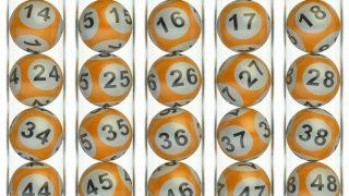 Set of orange lottery balls, lotto concept