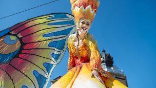 Debrecen, 2016. augusztus 20.A német Stelzen-Art táncosa a 47. alkalommal megrendezett debreceni virágkarneválon 2016. augusztus 20-án. A felvonuló 16 virágkocsit összesen kétmillió szál virággal díszítették.MTI Fotó: Balázs Attila