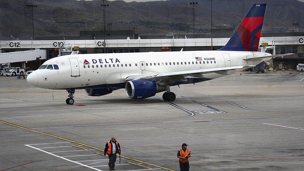 SALT LAKE CITY, UT - NOVEMBER 10, 2015: A Delta Airlines Airbus A319 passenger aircraft taxis toward the runway at Salt Lake City International Airport in Salt Lake City, Utah. (Photo by Robert Alexander/Getty Images)