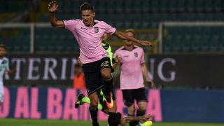 PALERMO, ITALY - AUGUST 21: Norbert Balogh (L) of Palermo jumps as Stefano Sensi of Sassuolo tackles during the Serie A match between US Citta di Palermo and US Sassuolo at Stadio Renzo Barbera on August 21, 2016 in Palermo, Italy.  (Photo by Tullio M. Puglia/Getty Images)