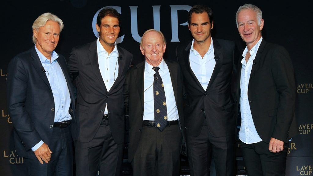 NEW YORK, NY - AUGUST 24:  (L - R) Bjorn Borg, Rafael Nadal, Rod Laver, Roger Federer,and John McEnroe attend the 2016 Laver Cup Announcement at St. Regis Hotel on August 24, 2016 in New York City.  (Photo by Bennett Raglin/WireImage)