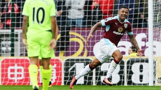 Andre Gray of Burnley celebrates scoring his goal to make it 2-0 during the Premier League match between Burnley and Liverpool played at Turf Moor, Burnley on 20th August 2016 - Photo Matt West / Backpage Images / DPPI