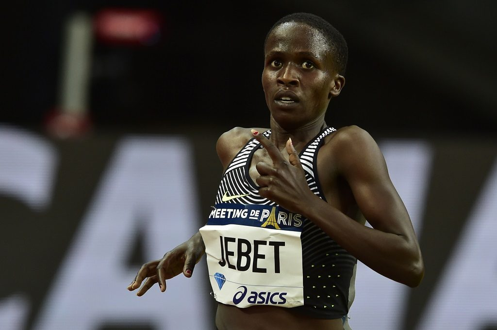 Bahrain's women's 3000m steeplchase runner Ruth Jebet competes at the IAAF Diamond League athletics meeting in Saint-Denis, near Paris, on August 27, 2016. / AFP PHOTO / DOMINIQUE FAGET