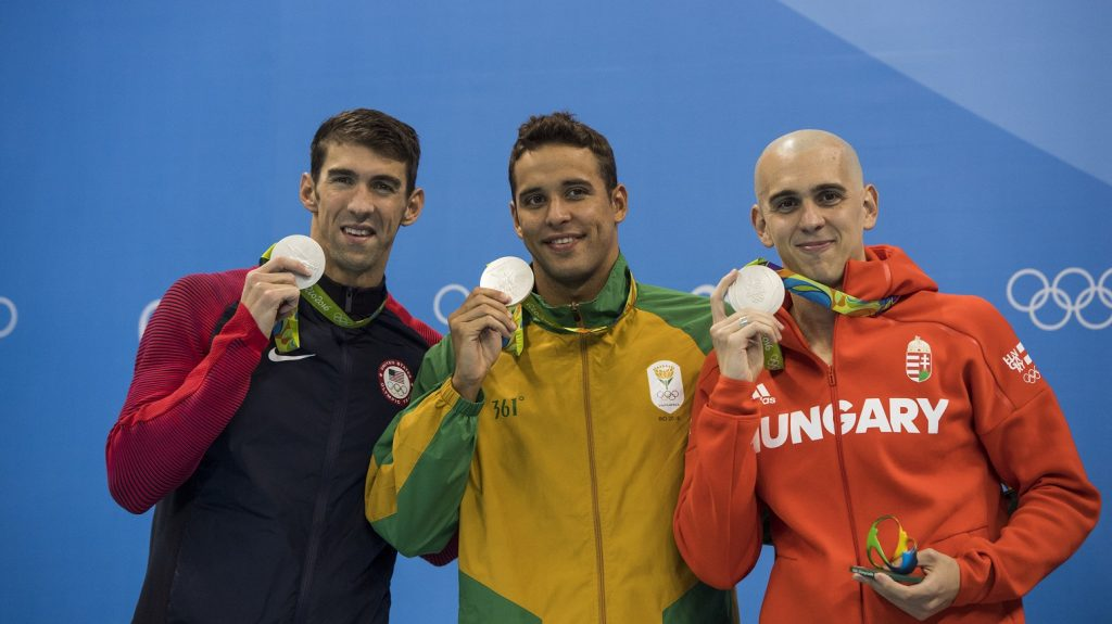 Swimming: 2016 Summer Olympics: (L-R) View of USA Michael Phelps, South Africa Chad le Clos, Hungary Laszlo Cseh victorious with medals during presentation ceremony after Men's 100M Butterfly Final at the Olympic Aquatics Center. Phelps, Laszlo, le Clos tie for Silver.  Rio de Janeiro, Brazil 8/12/2016 CREDIT: Donald Miralle (Photo by Donald Miralle /Sports Illustrated/Getty Images) (Set Number: SI89 TK1 )