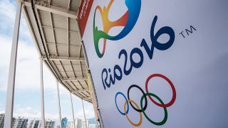 A banner with the Olympic logo for the Rio 2016 Olympic Games seen at the Olympic Tennis Centre of the Olympic Park in Rio de Janeiro, Brazil, on December 11, 2016.  AFP PHOTO / YASUYOSHI CHIBA / AFP PHOTO / YASUYOSHI CHIBA