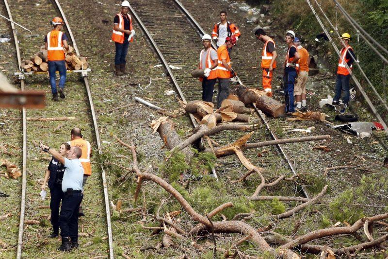 Montpellier, 2016. augusztus 17. Vonatbaleset helyszíne Saint-Aunes közelében, Franciaország déli részén 2016. augusztus 17-én. Tízen súlyosan, körülbelül ötvenen pedig könnyebben megsérültek, mert sínre dõlt fának rohant a Montpellier-bõl Nimes-be tartó vonat. (MTI/EPA/Guillaume Horcajuelo)