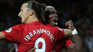 Zlatan Ibrahimovic of Manchester United celebrates scoring his sides second goal with Paul Pogba during the Premier League match between Manchester United and Southampton played at Old Trafford, Manchester, England, on August 19, 2016 - Photo Philip Oldman / Backpage Images / DPPI