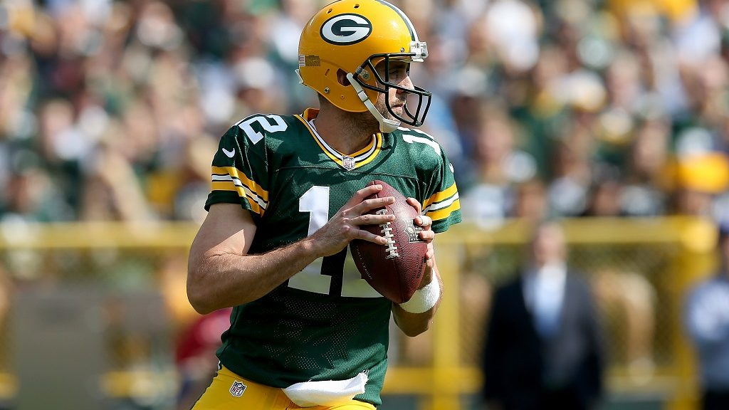 GREEN BAY, WI - SEPTEMBER 25: Aaron Rodgers #12 of the Green Bay Packers drops back to pass in the second quarter against the Detroit Lions at Lambeau Field on September 25, 2016 in Green Bay, Wisconsin.   Dylan Buell/Getty Images/AFP