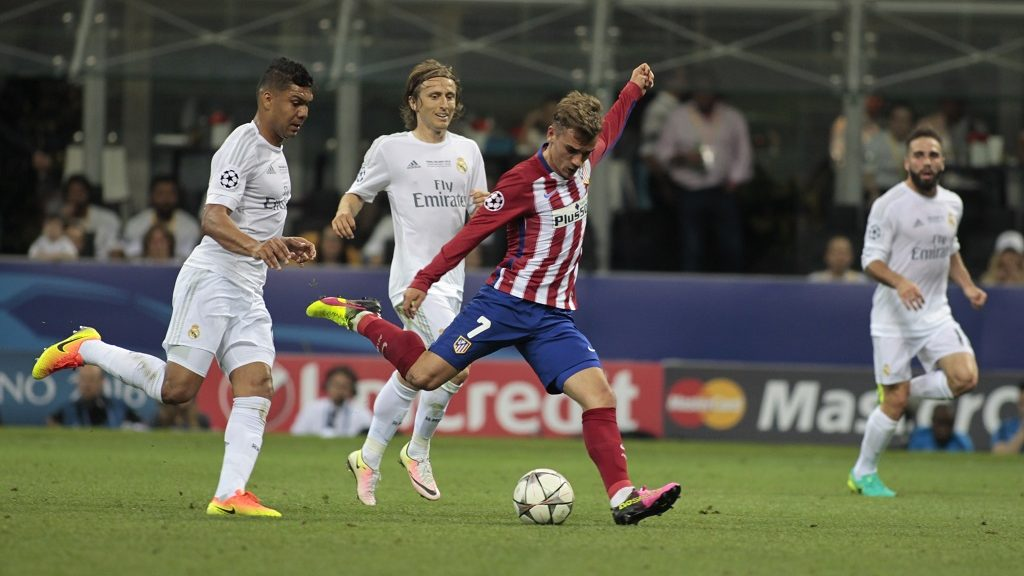 Antoine Griezmann (7) during the Champions League final  between Real Madrid CF and Club Atletico de Madrid at the Giuseppe Meazza Stafium of Milan  on may 28, 2016 in Milan, Italy.  (Photo by Loris Roselli/NurPhoto via Getty Images)