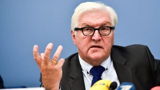 Germany's Foreign Minister Frank-Walter Steinmeier gives a press conference after the Baltic and German Foreign Ministers meeting in Riga, on September 13, 2016.  Steinmeier meets his Estonian, Latvian and Lithuanian counterparts just days before the Bratislava summit. / AFP PHOTO / Ilmars ZNOTINS