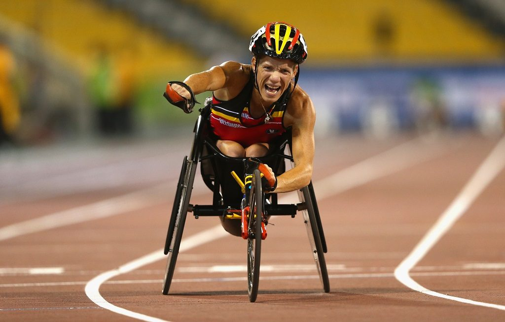 DOHA, QATAR - OCTOBER 31:  Marieke Vervoort of Belgium wins the women's 400m T52 final during the Evening Session on Day Ten of the IPC Athletics World Championships at Suhaim Bin Hamad Stadium on October 31, 2015 in Doha, Qatar.  (Photo by Francois Nel/Getty Images)
