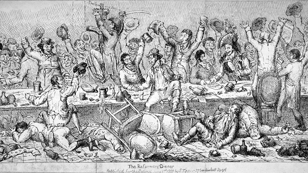 'The Reformers' Dinner', 1809. The grand Reform Dinner at the Crown and Anchor. Various characters from all walks of life and in various stages of intoxication are in an uproar amid upturned chairs, crockery etc. One of them is attacking the Crown and Anchor sign with a sword. (Photo by Guildhall Library & Art Gallery/Heritage Images/Getty Images)