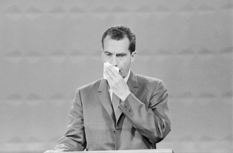 """(Original Caption) Photo shows Republican Vice-President, Richard Nixon Speaking during the Presidential debate with John Kennedy (Not shown). nixon is shown in this close -up during their first meeting in the nationally televised series of """"Great Debates."""""""