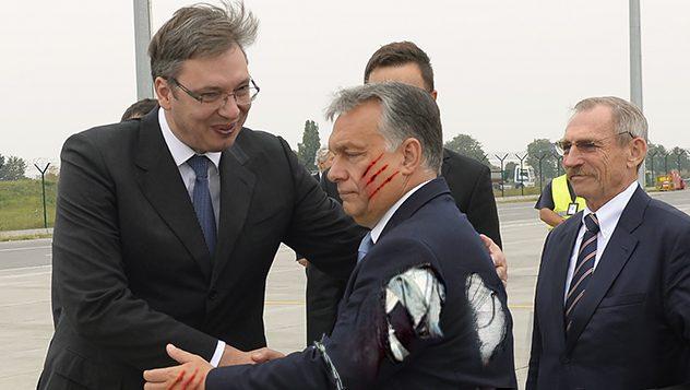 Beograd, 5. septembra 2016 - Premijer Madjarske Viktor Orban doputovao je danas u posetu Beogradu, a na aerodromu ga je docekao premijer Srbije Aleksandar Vucic. FOTO TANJUG / TANJA VALIC / bb