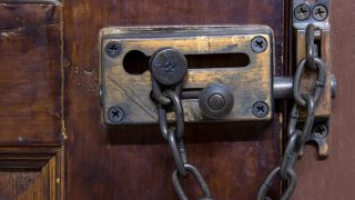 locked doors close up