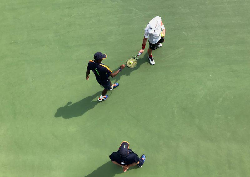 NEW YORK, NY - SEPTEMBER 10:  Men's Collegiate Invitational Final on Day Thirteen between Thai-Son Kwiatkowski (winner) and Austin Smith of the 2016 US Open at the USTA Billie Jean King National Tennis Center on September 10, 2016 in Queens.  (Landon Nordeman for ESPN)
