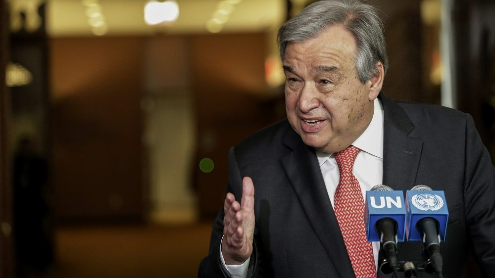 Antonio Guterres speaks to reporters on the selection of the next UN Secretary-General  at the UN headquarters in New York, on April 12,2016. Over the next three days, eight contenders are expected to take the podium before the General Assembly's 193 nations to lay out their vision for the job and answer questions. The hearings are part of a broad push for transparency in the selection of Ban Ki-moon's successor, who will lead an organization of 40,000-plus employees with a budget of $10 billion.  / AFP PHOTO / KENA BETANCUR