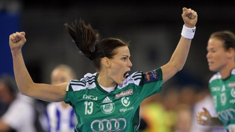 Gyori's Anita Gorbicz celebrates during the final match of the EHF Final Four Handball Champions League Gyori Audi KC (Hungary) vs RK Buducnost (Montenegro) at the Papp Laszlo Arena in Budapest on May 4, 2014.     AFP PHOTO / ATTILA KISBENEDEK / AFP PHOTO / ATTILA KISBENEDEK