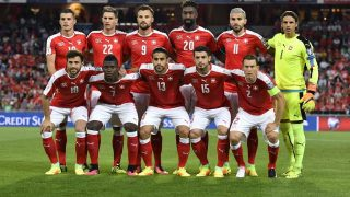 Swiss national football team players (front row, from L) forward Admir Mehmedi, forward Breel Embolo, defender Ricardo Rodrigue, midfielder Blerim Dzemaili and defender Stephan Lichtsteiner, (second row, from L) midfielder Granit Xhaka, defender Fabian Schaer, forward Haris Seferovic, defender Johan Djourou, midfielder Valon Behrami and Goalkeeper Yann Sommer pose for a photograph prior to the FIFA World Cup WC 2018 football qualifier between Switzerland and Portugal at the Saint Jakob Park stadium in Basel on September 6, 2016. / AFP PHOTO / FABRICE COFFRINI