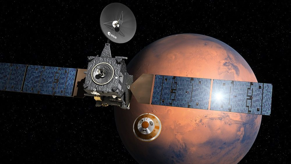 """(FILES) This file photo handout photo taken from the European Space Agency website on March 1, 2016 shows an artist's impression depicting the separation of the ExoMars 2016 entry, descent and landing demonstrator module, named Schiaparelli, from the Trace Gas Orbiter, and heading for Mars. Europe's Schiaparelli Mars lander is set to separate from its mothership on October 16, 2016 for a three-day, one million-kilometre (621,000-mile) descent to the Red Planet's surface to test landing gear for a future rover.   / AFP PHOTO / EUROPEAN SPACE AGENCY / D. Ducros / RESTRICTED TO EDITORIAL USE - MANDATORY CREDIT """"AFP PHOTO / EUROPEAN SPACE AGENCY / D.DUCROS"""" - NO MARKETING NO ADVERTISING CAMPAIGNS - DISTRIBUTED AS A SERVICE TO CLIENTS"""