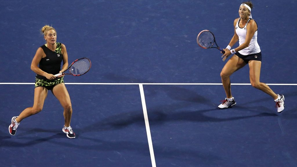 NEW HAVEN, CT - AUGUST 22: Timea Babos of Hungary and Yaroslava Shvedova of Kazakhstan during their doubles match against Caroline Wozniacki of Denmark and Klaudia Jans-Ignacik of Poland on day 2 of the Connecticut Open at the Connecticut Tennis Center at Yale on August 22, 2016 in New Haven, Connecticut.   Adam Glanzman/Getty Images/AFP