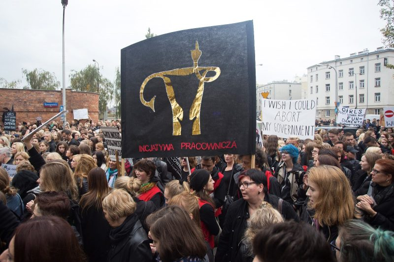 Polish women strike to signify grief in terms of the abortion ban in Poland, 03 October, 2016, Warsaw. (Photo by Krystian Dobuszynski/NurPhoto)
