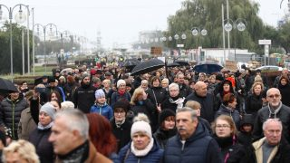 """Few thousands people protested in Gdynia, northern Poland, on 23 October 2016 against a legislative proposal for a total ban on abortion in Poland. Gdynia protest is part of the nationwide women protest called """" Women Strike """" with the umbrellas and black wear as a symbols.  (Photo by Michal Fludra/NurPhoto)"""