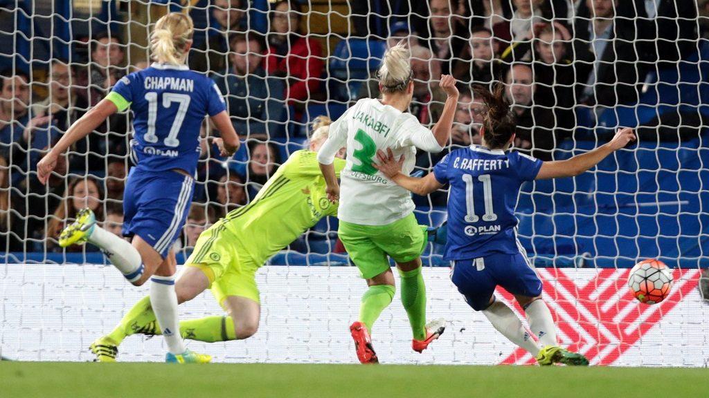 Zsanett Jakabfi of Vfl Wolfsburg scores her sides third goal during UEFA Women Champion League Round of 32 match between Chelsea Ladies  and VFL Wolfsburg Ladies at Stamford Bridge, London, England  on 5th October 2016 (Photo by Kieran Galvin/NurPhoto)