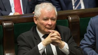 Leader of Polish now ruling conservative 'Law and Justice' (PiS) party, Jaroslaw Kaczynski during the session of Parliament of Poland in Warsaw, Poland on 6 October 2016.  (Photo by Mateusz Wlodarczyk/NurPhoto)