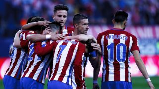 MADRID, SPAIN - OCTOBER 29: Atletico de Madrid players celebrate a goal during the Spanish League 2016/17 match between Atletico de Madrid and Málaga, at Vicente Calderon Stadium in Madrid on October 29, 2016. (Photo by Guillermo Martinez/Corbis via Getty Images)