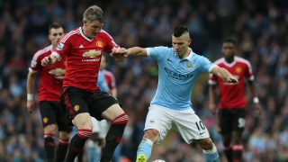 Manchester United's Bastian Schweinsteiger and Sergio Aguero of Manchester City during the English championship Premier League football match between Manchester City and Manchester United on March 20, 2016 played at the Etihad Stadium in Manchester, England - Photo Paul Currie / Backpage Images / DPPI