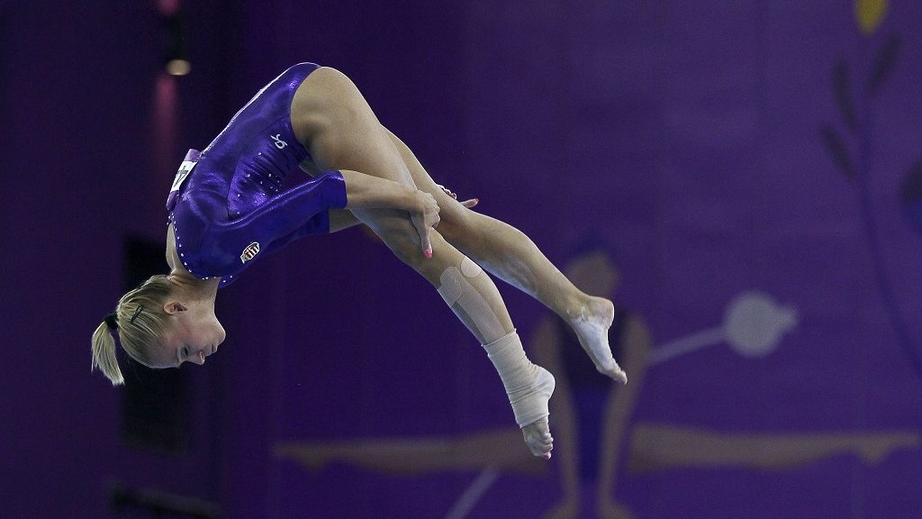 BAKU, AZERBAIJAN - JUNE 18: Dorina Boczogo of Hungary competes on the beam in the Women's Individual All-Around final on day six of the Baku 2015 European Games at National Gymnastics Arena on June 18, 2015 in Baku, Azerbaijan. (Photo by Cem Oksuz/Anadolu Agency/Getty Images)