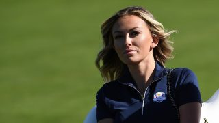 CHASKA, MN - OCTOBER 02: Paulina Gretzky looks on during singles matches of the 2016 Ryder Cup at Hazeltine National Golf Club on October 2, 2016 in Chaska, Minnesota.   Ross Kinnaird/Getty Images/AFP