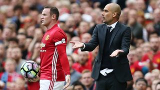 Wayne Rooney of Manchester United takes the ball from Manchester City manager Pep Guardiola during the Premier League match between Manchester United and Manchester City played at Old Trafford, Manchester on 10th September 2016 - Photo Matt West / BPI / DPPI