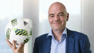 """FIFA president Gianni Infantino poses for a picture during a interview with AFP on October 5, 2016 at the world football's governing body headquarters in Zurich. Infantino confirmed that he defended a """"World Cup in 48 nations that opens more opportunities for more teams,"""" while believing that """"co-organization between countries"""" was """"a fundamental point"""" in an exclusive interview with AFP. / AFP PHOTO / FABRICE COFFRINI"""