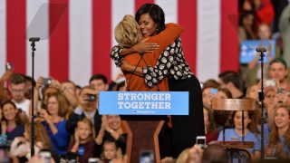 WINSTON-SALEM, NC - OCTOBER 27 : Democratic presidential candidate Hillary Clinton (L) and US First Lady Michelle Obama (R) are seen during a presidential campaign event in Winston-Salem, North Carolina, USA on October 27, 2016. Peter Zay / Anadolu Agency