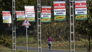 Mikepércs, 2016. szeptember 26. Az október 2-i kvótareferendumon a nem szavazatokra ösztönzõ plakátok villanyoszlopokon Mikepércsen 2016. szeptember 26-án.  MTI Fotó: Czeglédi Zsolt
