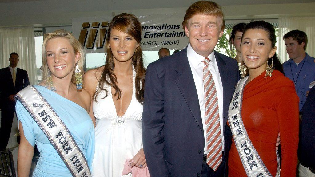 Catherine Muldoon, Miss Teen USA New York, Melania Knauss, Donald Trump and  Jaclyn Nesheiwat, Miss USA New York (Photo by J. Countess/WireImage)