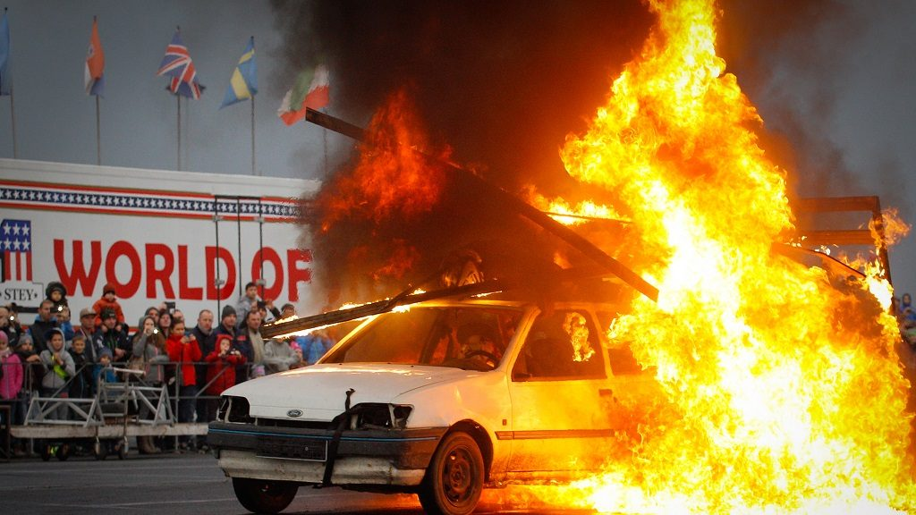 With the help of Auchan supermarkets a stunt car show is organised on the shopping center terrain where motorcyclists, guad drivers and others show off stunts to an audience of several hundred people. Bydgoszcz, Poland, on October 23 2016. (Photo by Jaap Arriens/NurPhoto)