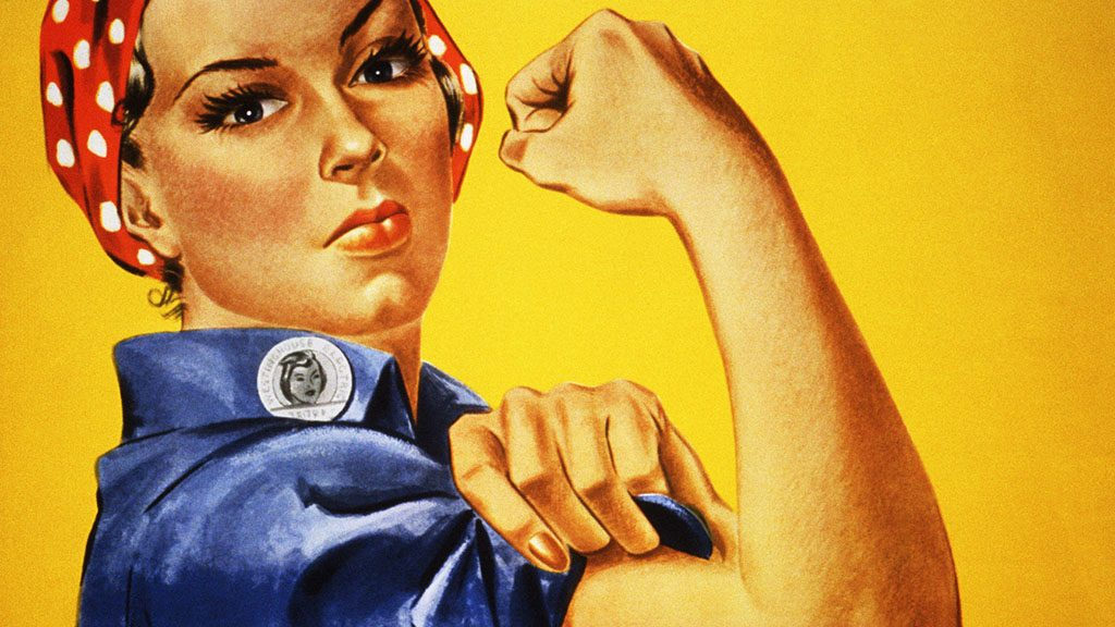 """A World War II color poster depicting """"Rosie the Riveter"""" encourages American women to show their strength and go to work for the war effort. (Photo by © CORBIS/Corbis via Getty Images)"""