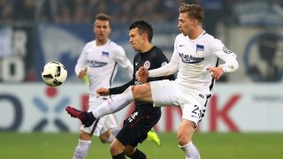HAMBURG, GERMANY - OCTOBER 25:  Waldemar Sobota (L) of St.Pauli and Mitchell Weiser of Berlin battle for the ball during the DFB Cup match between FC St. Pauli and Hertha BSC at Millerntor Stadium on October 25, 2016 in Hamburg, Germany.  (Photo by Martin Rose/Bongarts/Getty Images)