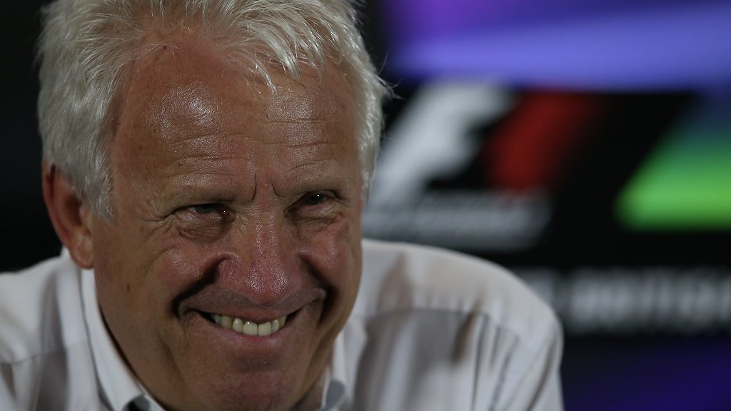 Formula 1 race director Charlie Whiting sits during a press conference at the Silverstone circuit in Silverstone on July 3, 2014 ahead of the British Formula One Grand Prix. AFP PHOTO / ANDREW YATES / AFP PHOTO / ANDREW YATES