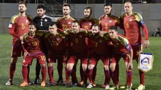 Players of the Andorra national football team (front row, L-R) Ludovic Clemente, Chus Rubio, Marcio Vieira, Marc Pujol and Max Llovera, (2nd row, L-R) Emili Garcia, Josep Gomes, Victor Rodriguez, Moises San Nicolas, Marc Vales and Ildefons Lima pose for a picture during the FIFA World Cup 2018 football qualifier between Andorra and Switzerland at the Municipal Stadium in Andorra la Vella, on October 10, 2016.          / AFP PHOTO / PASCAL PAVANI