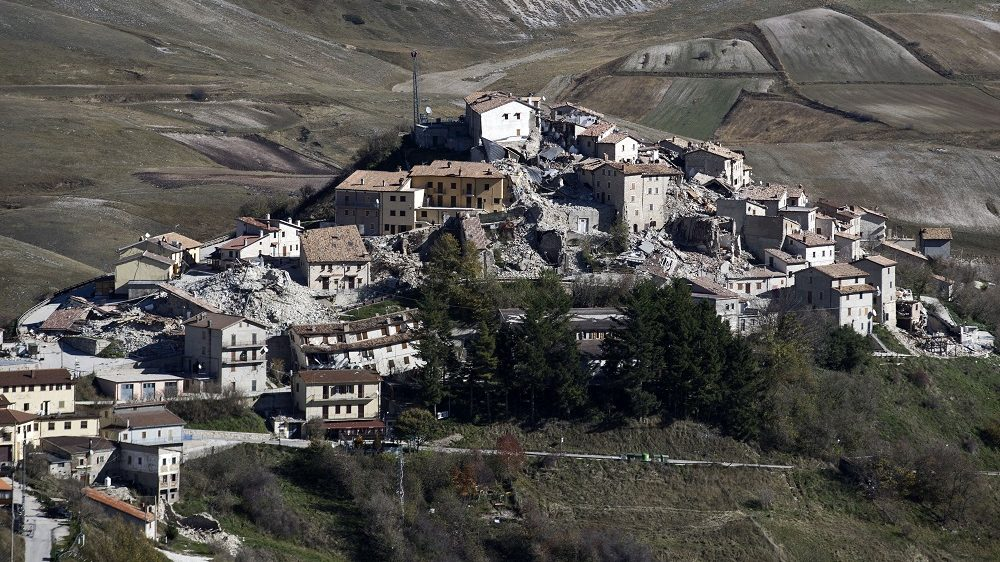 A general view shows destructions in the village of Castelluccio near the Monte Vettore on November 2, 2016,  three days after a 6.5 magnitude earthquake hit central Italy. Satellite images found that Sunday's temblor deformed the landscape over 130 square kilometres (50 square miles), the Italian National Research Council said in a statement. The biggest displacement was in the Castelluccio region, near the small town of Norcia, which lay only six kilometres (3.7 miles) from the epicentre, it said. The ground in this region was pushed up or sank by up to 70cm.   / AFP PHOTO / FILIPPO MONTEFORTE