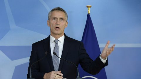 NATO Secretary General Jens Stoltenberg  speaks during a press conference with  chairman of the Presidency of Bosnia Herzegovina at the NATO headquarters in Brussels on November 9, 2016.  / AFP PHOTO / THIERRY CHARLIER