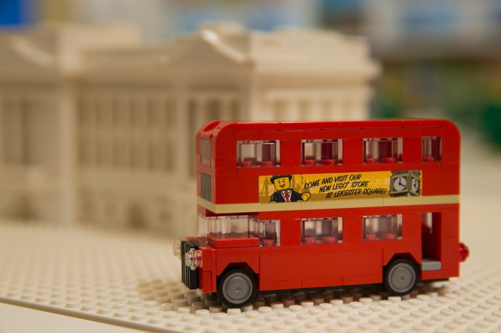 A double-decker London bus made from LEGO is pictured during the official opening of the new LEGO store in Leicester Square, central London in November 17, 2016.  Billed as the world's largest LEGO store by the company, the new UK flagship store was officially opened on November 17 in Leicester Square. / AFP PHOTO / Daniel LEAL-OLIVAS