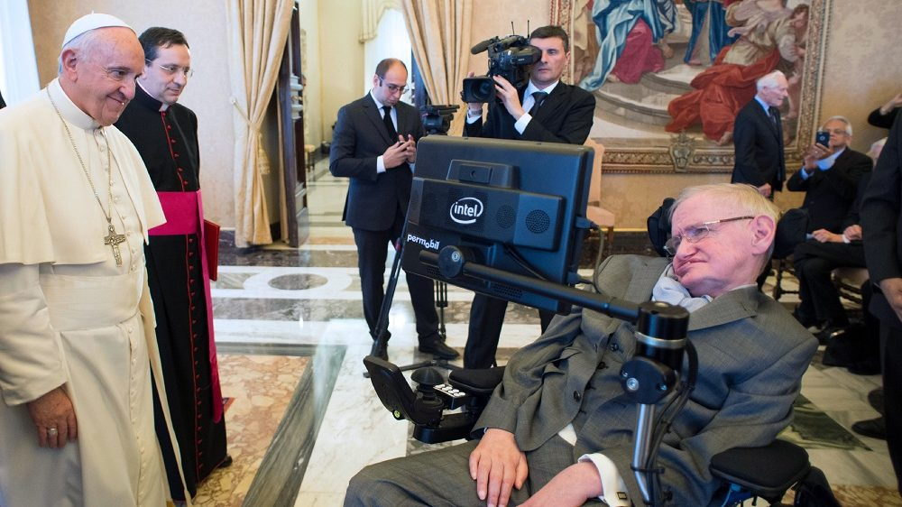This handout photo taken and released by the Osservatore Romano on November 28, 2016, shows Pope Francis (L) meeting with English theoretical physicist and cosmologist Stephen Hawking at the Vatican. / AFP PHOTO / OSSERVATORE ROMANO / - / The erroneous mentions appearing in the metadata of this photo  has been modified in AFP systems in the following manner: [BYLINE: STR / SOURCE: OSSERVATORE ROMANO / and adding RESTRICTIONS: XGTY] instead of [BYLINE: FILIPPO MONTEFORTE / SOURCE: AFP]. Please immediately remove the erroneous mentions from all your online services and delete them from your servers. If you have been authorized by AFP to distribute it to third parties, please ensure that the same actions are carried out by them. Failure to promptly comply with these instructions will entail liability on your part for any continued or post notification usage. Therefore we thank you very much for all your attention and prompt action. We are sorry for the inconvenience this notification may cause and remain at your disposal for any further information you may require.