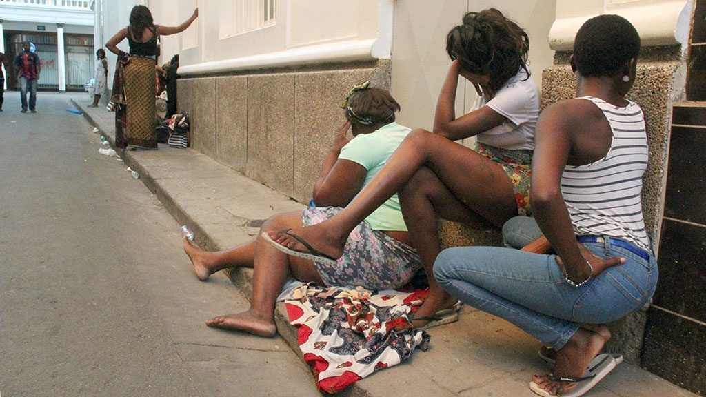 Prostitutes in the red light district of Maputo, Mozambique, 17 May 2016. The International Organisation for Migration (IOM) assumes 1,000 women and children to be trafficked from Mozambique to the wealthier South Africa annualy. PHOTO: JERONIMO MUIANGA/dpa