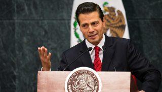 MEXICO CITY, MEXICO - NOVEMBER 09: Enrique Pena Nieto, President of Mexico delivers a speech during a press conference over the triumph of the Republican Candidate, Donald Trump in Mexico City, Mexico on November 09, 2016.    Manuel Velasquez / Anadolu Agency